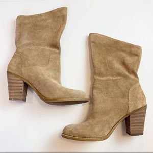 Lucky Brand Embrleigh Mid Calf Tan Suede Boots